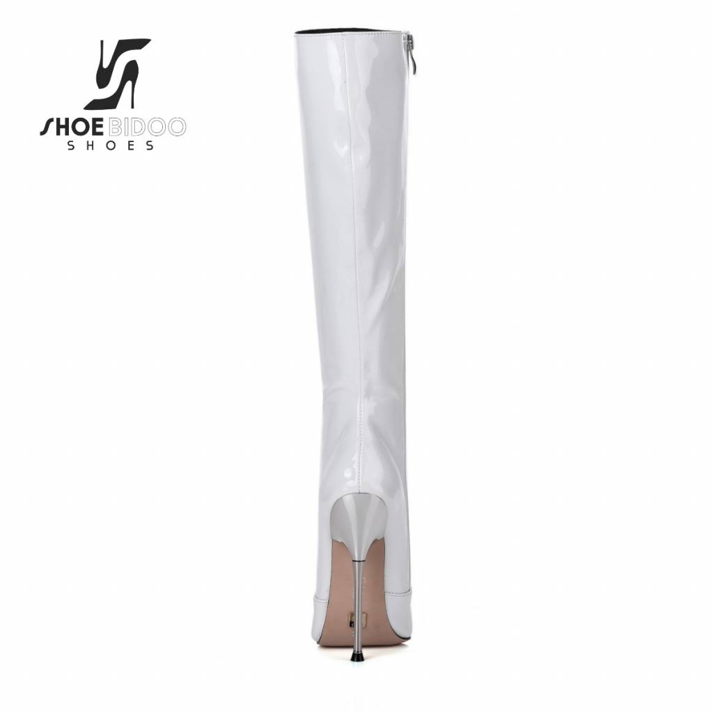 Giaro White patent knee boots with ultra high silver metal heels