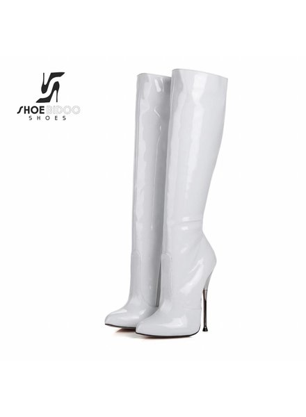 Giaro BE BRAVE | WHITE SHINY | SILVER METAL HEEL KNEE BOOTS