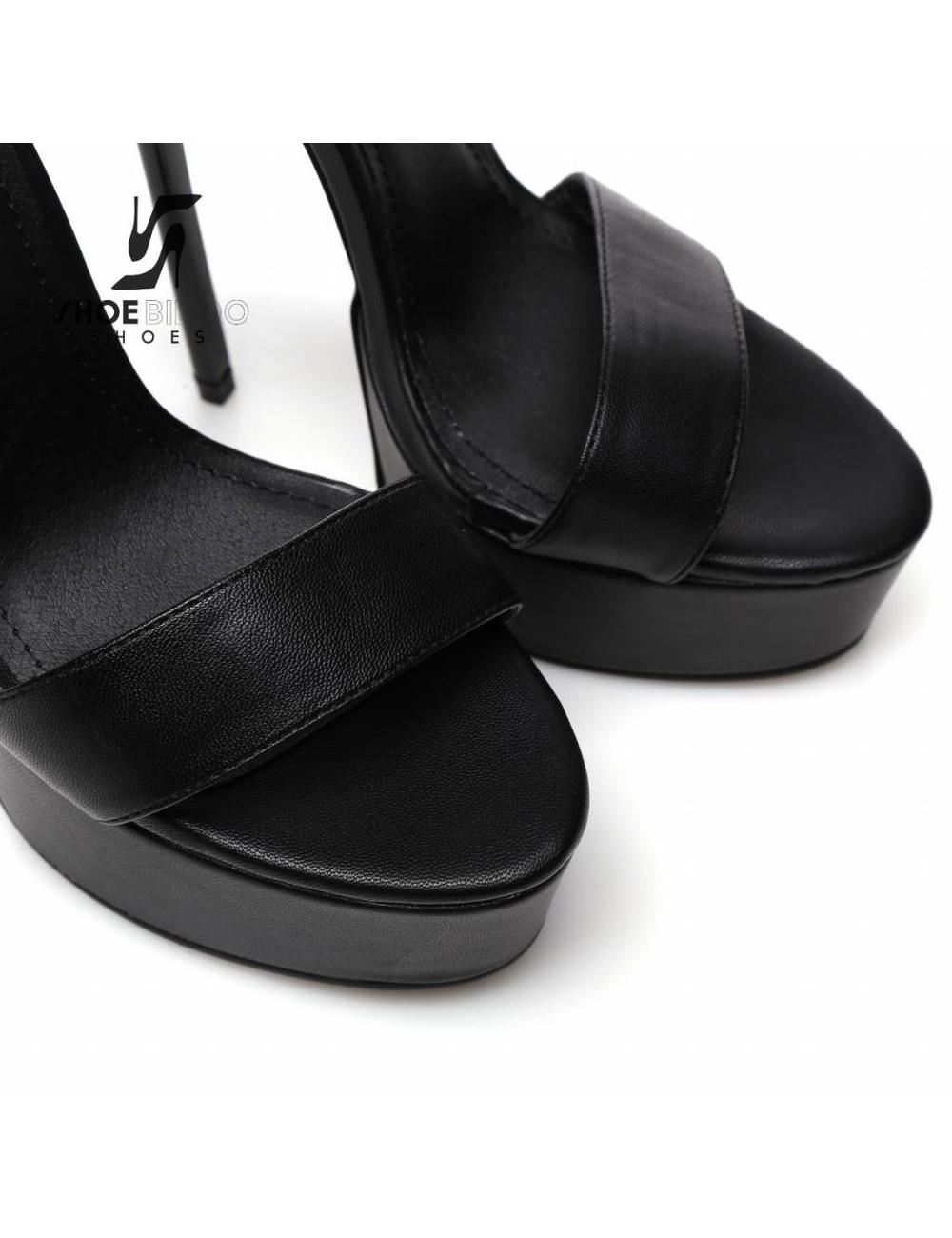 Giaro Zwarte Giaro KATE platform bondage enkelband sandalen
