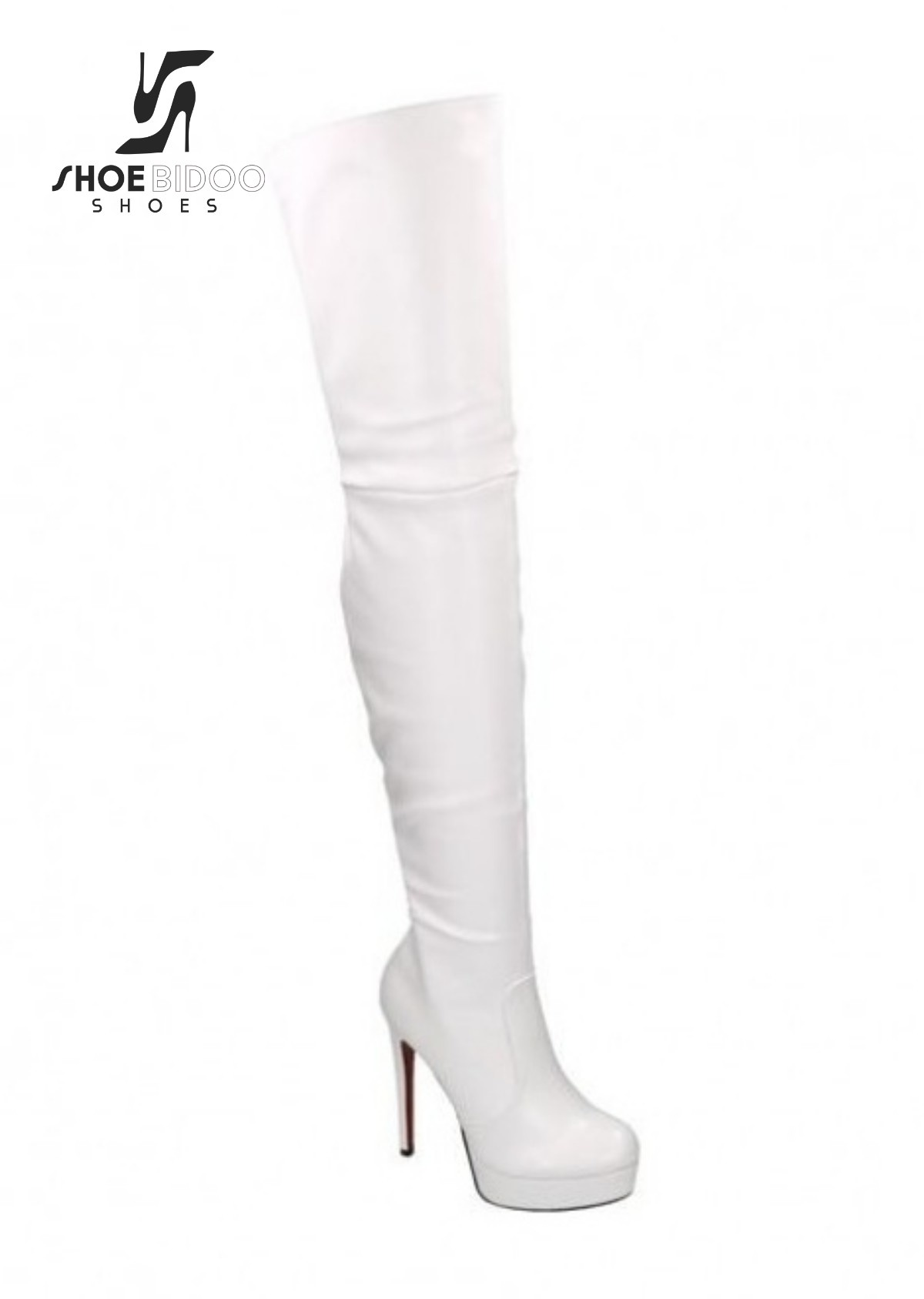 Giaro White thigh boots with ultra high heels and platform