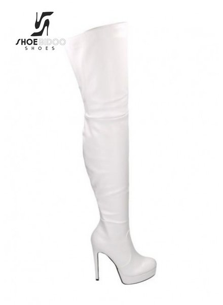 Jumex CIRCE | WHITE MATTE | HIGH HEEL PLATFORM THIGH BOOTS