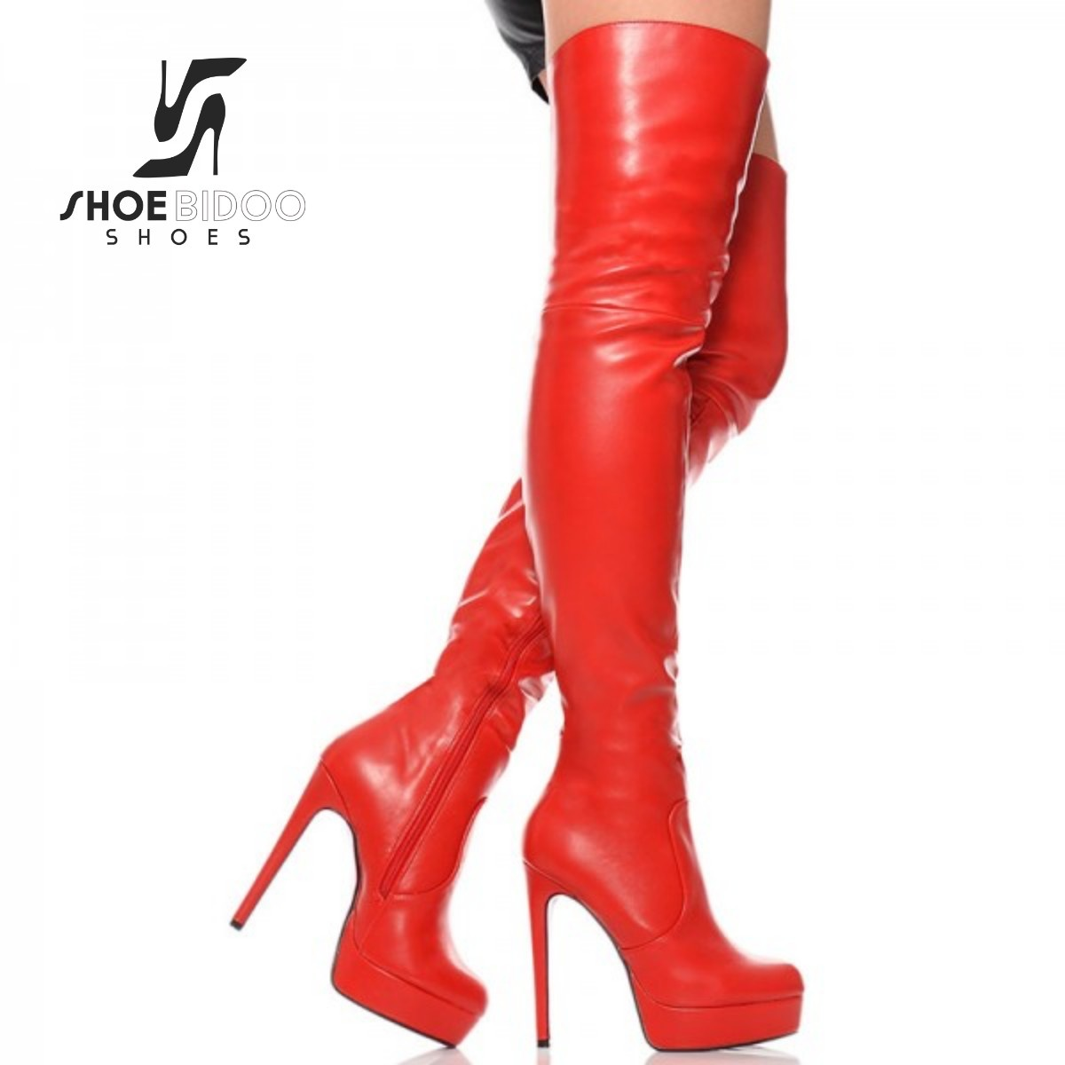 Giaro Red thigh boots with ultra high heels and platform