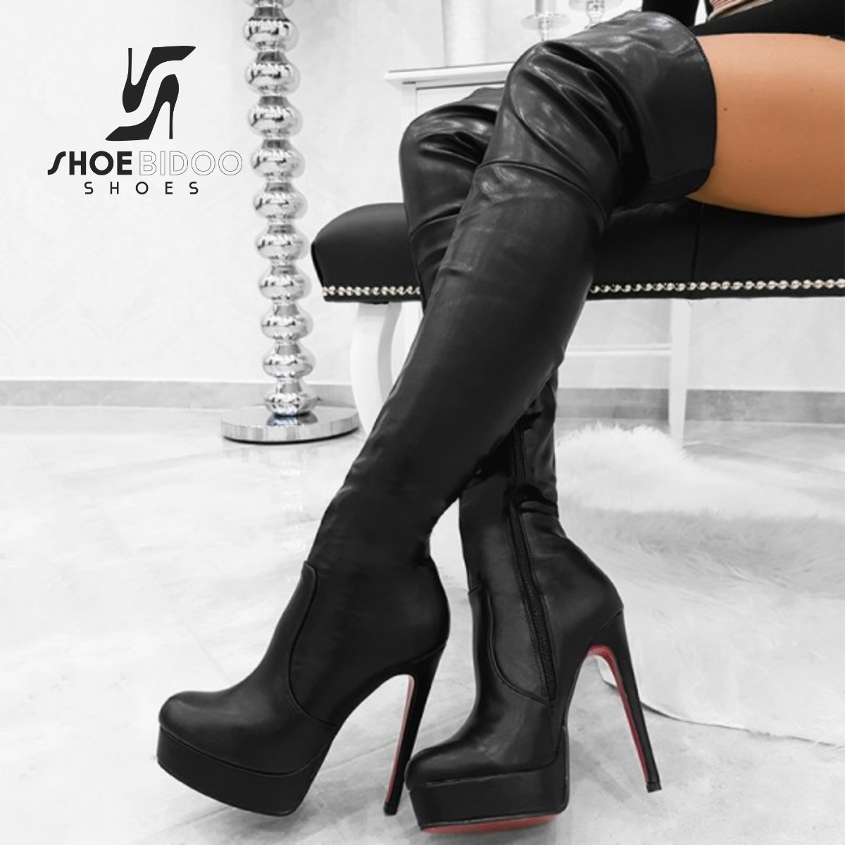 Giaro Black thigh boots with ultra high heels and platform