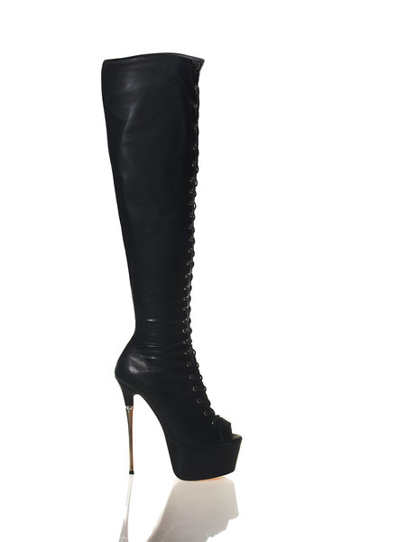 CoCo MOTHER EARTH | BLACK MATTE | HIGH METAL HEEL LACE UP BOOTS