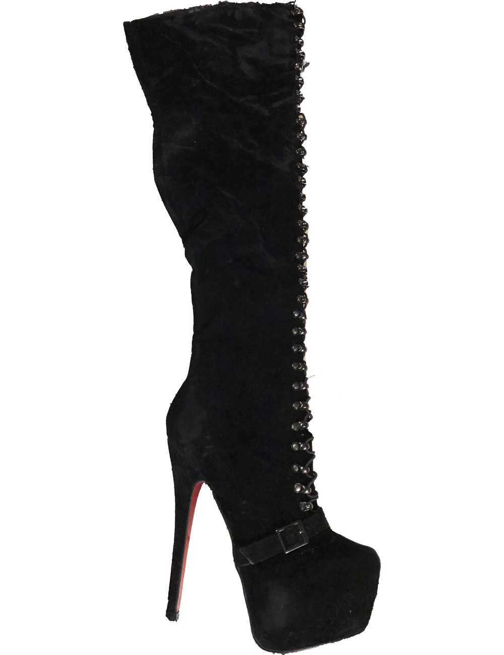 CoCo Black earth high lace up boots with belt - red soles