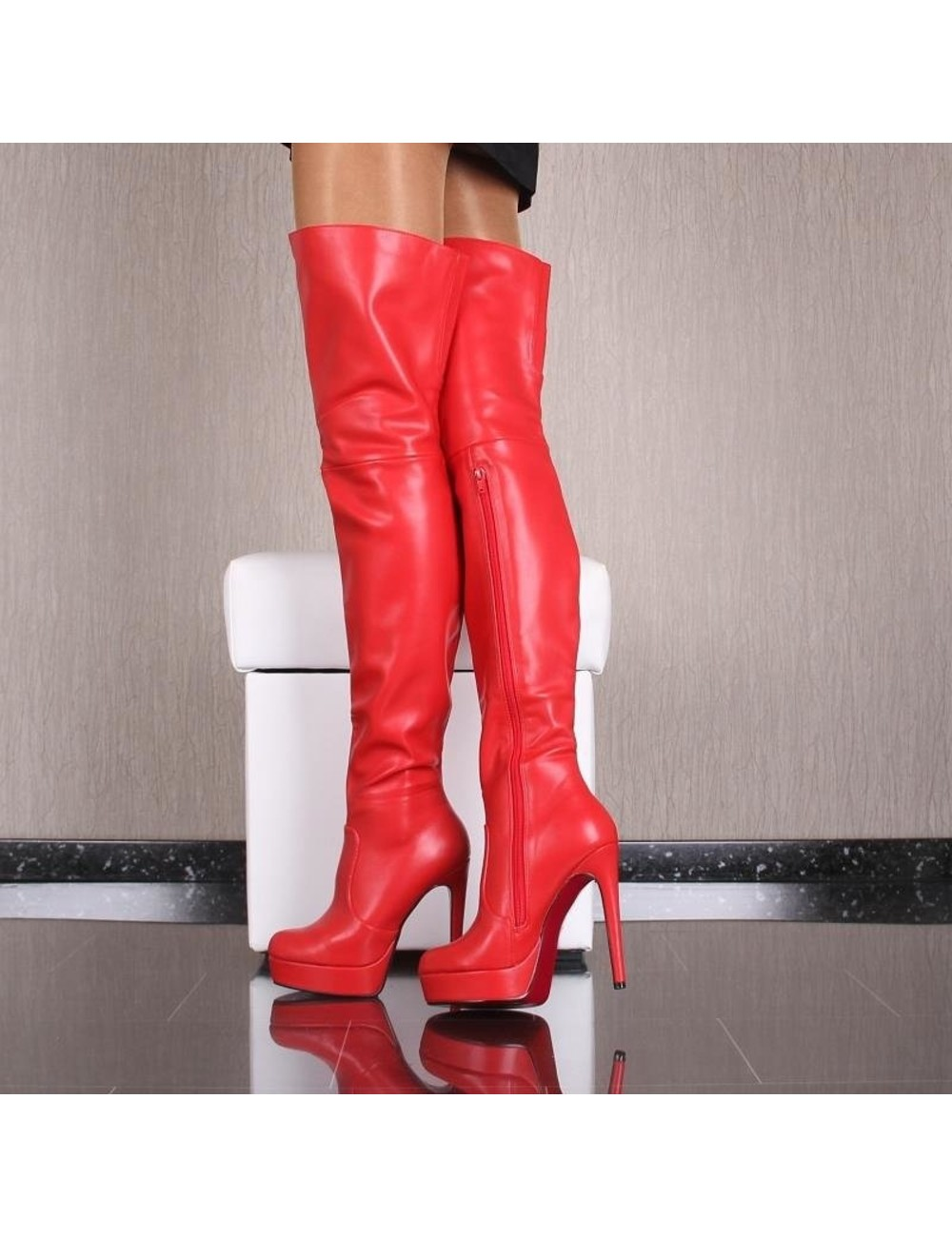 Red thigh boots with high heels and red