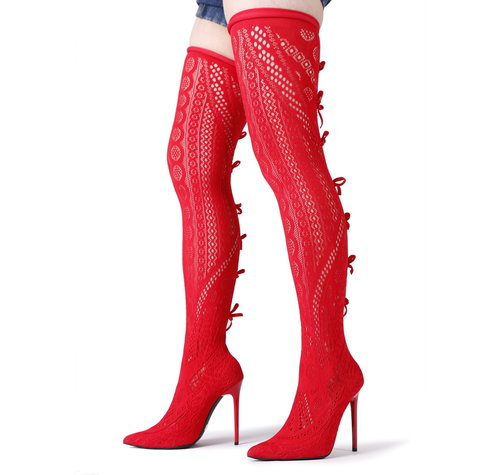 Giaro SARAFINA | RED  | STRETCH THIGH BOOTS