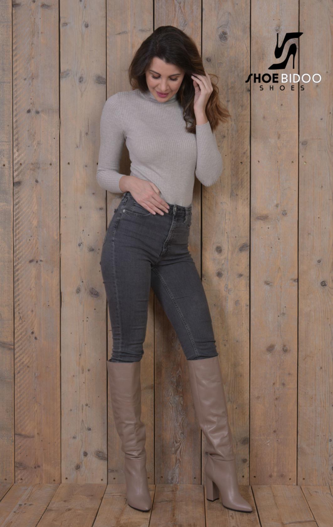 Olga in Italian leather knee boots