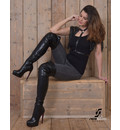 Jumex Black thigh boots with ultra high heels and platform
