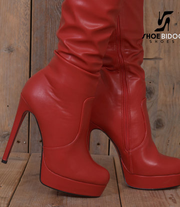 Jumex Red thigh boots with ultra high heels and platform