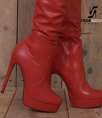 Jumex Rode dijlaarzen met ultra hoge hakken en platform