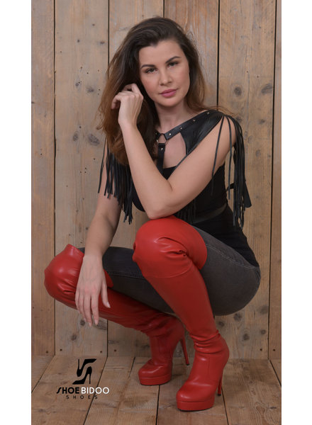 Jumex CIRCE | RED MATTE | HIGH HEEL PLATFORM THIGH BOOTS