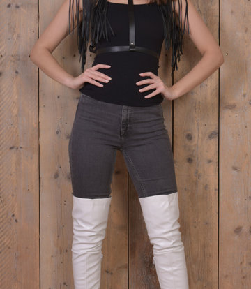Jumex White thigh boots with ultra high heels and platform