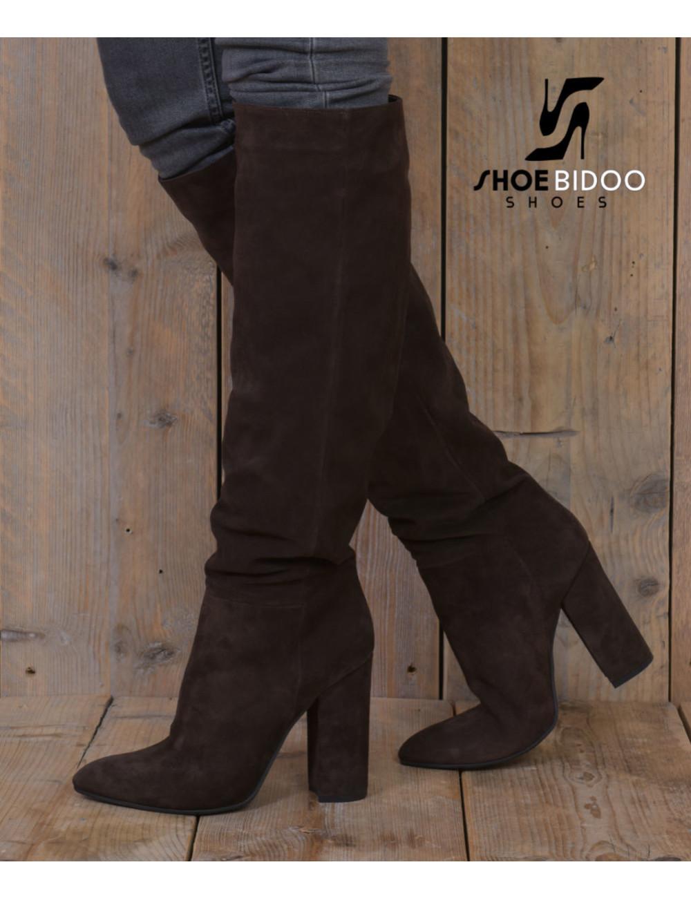 Sanctum Shoes Lange knie laarzen met hoge blokhakken in suede zonder rits