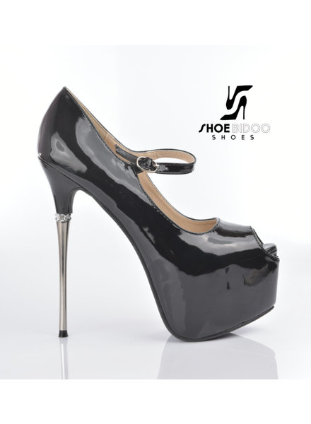 CoCo EARTH | BLACK SHINY | HIGH METAL HEEL PLATFORM PUMPS