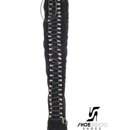 CoCo Zwarte hoge veterlaarzen met riem over de wreef - rode zolen