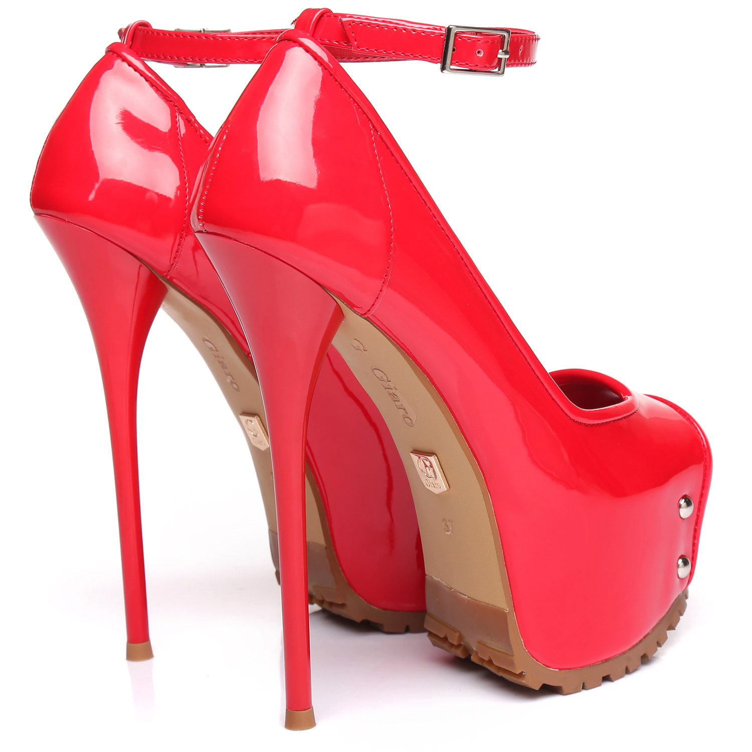 "Giaro Red shiny  Giaro ""Profile"" platform pumps peeptoe"