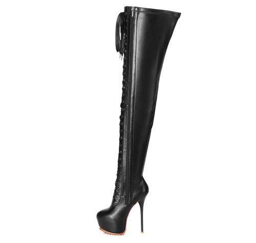 Giaro LUISA | BLACK MATTE |  LACE-UP THIGH BOOTS