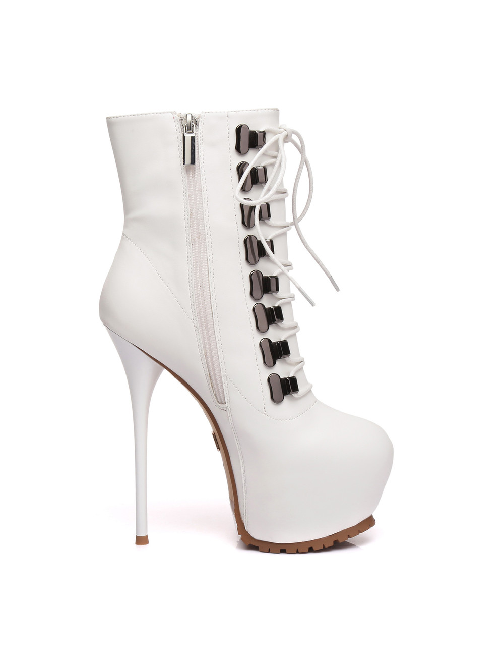 Giaro Giaro Hunt white matte lace-up ankle boots