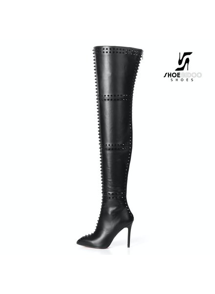 Giaro LUNA 1004 | BLACK | STUDDED THIGH BOOTS