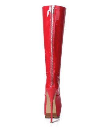 Giaro Giaro Cameron red shiny knee boots - back zipper