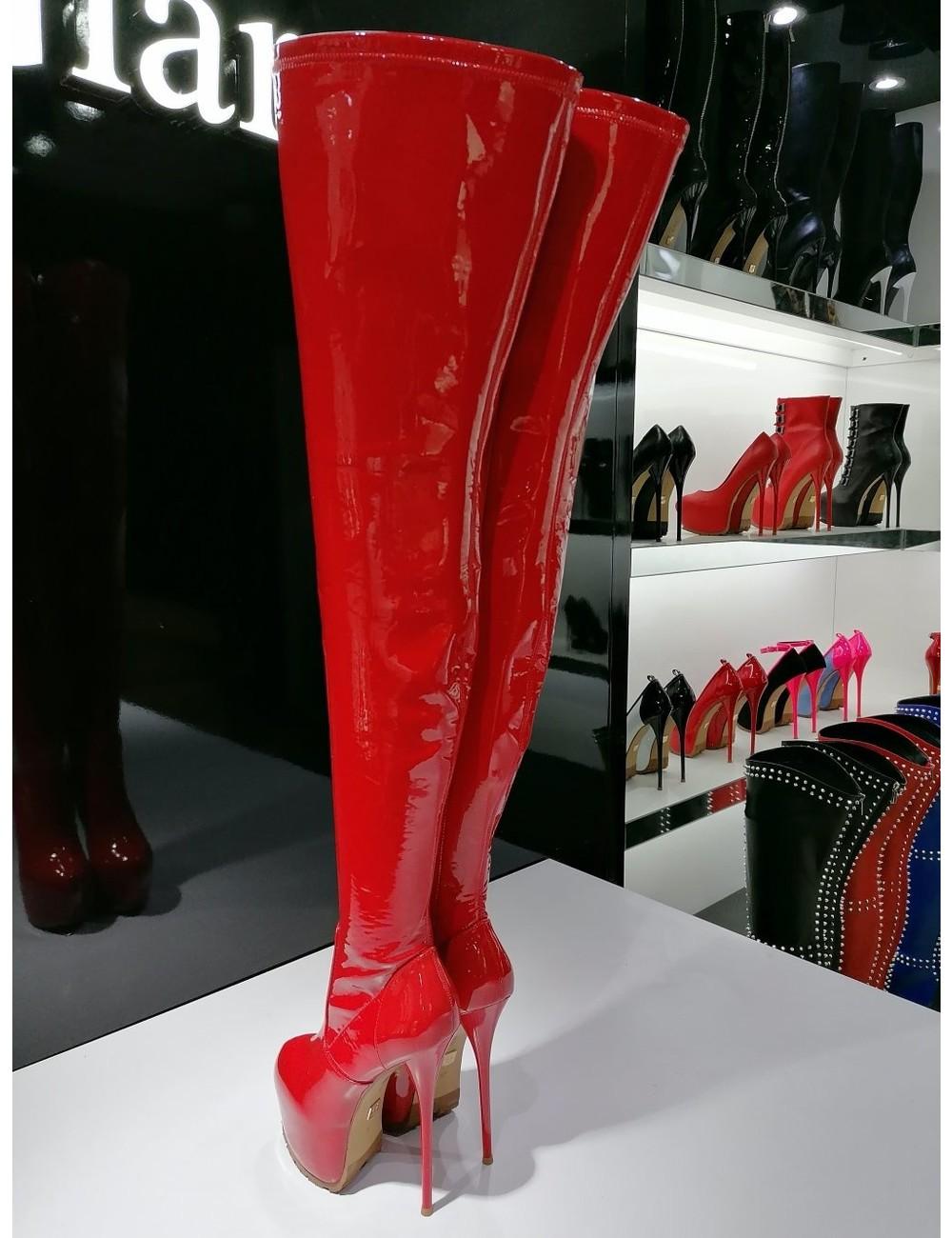 Giaro Giaro VIDA rot glänzende Oberschenkel Stiefel Profilsohlen