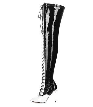 Giaro VERUSKA lange rijglaarzen met hoge hakken WHITE
