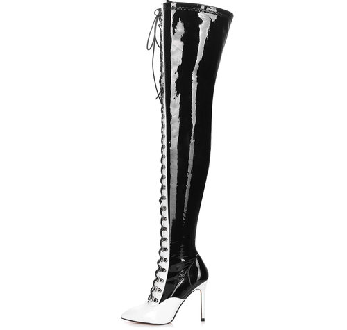 Giaro VERUSKA 1004 | BLACK WHITE | LACE-UP THIGH BOOTS