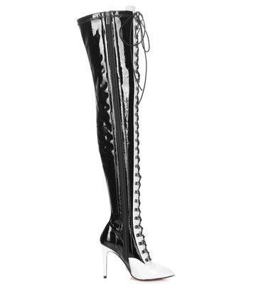 Giaro VERUSKA lange Schnürstiefel mit hohen Absätzen und weißen Absätzen