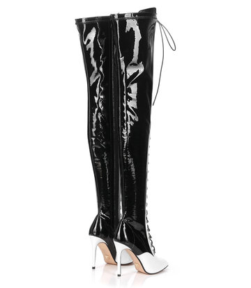 Giaro VERUSKA long lace-up thigh high boots with high heels WHITE