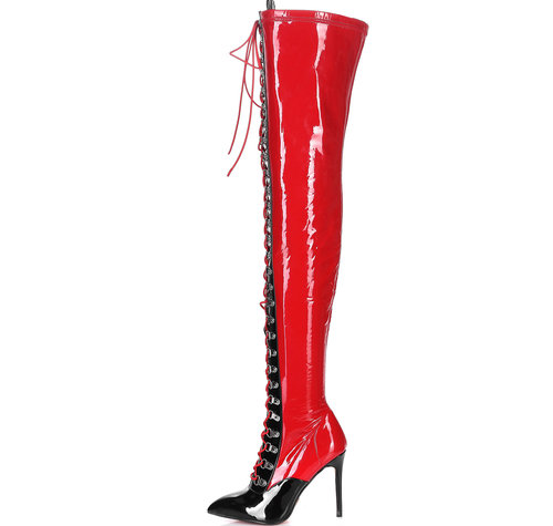 Giaro VERUSKA 1004 | RED-BLACK | LACE-UP THIGH BOOTS