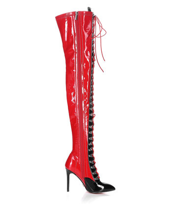 Giaro VERUSKA long lace-up thigh high boots with high heels RED-BLACK