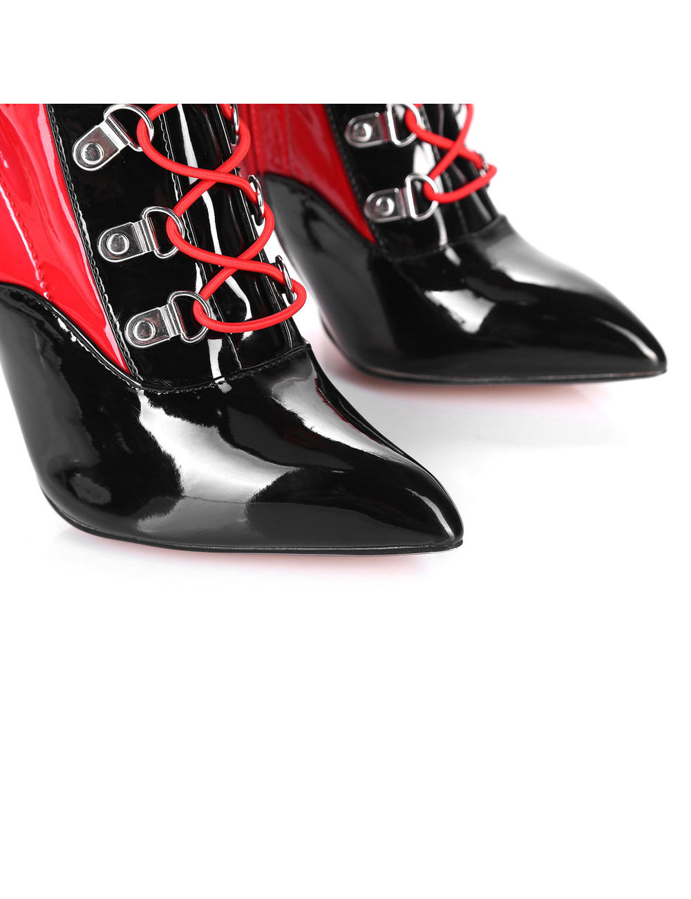 Giaro VERUSKA lange, geschnürte, oberschenkelhohe Stiefel mit hohen Absätzen, ROT-SCHWARZ