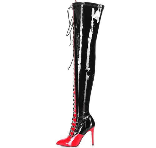 Giaro VERUSKA 1004 | BLACK-RED | LACE-UP THIGH BOOTS