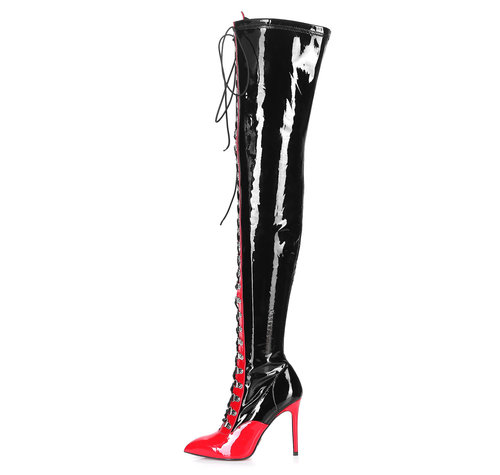 Giaro VERUSKA 1004 | BLACK-RED | LACE-UP THIGH BOOTS  - Copy