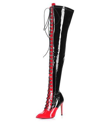 Giaro VERUSKA lange dij hoge laarzen met veters en hoge hakken ZWART-ROOD