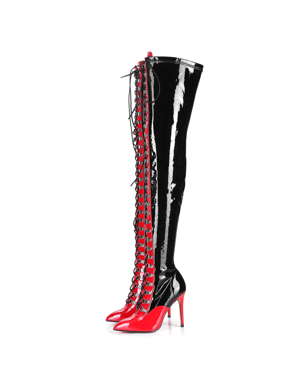 Giaro VERUSKA long lace-up thigh high boots with high heels BLACK-RED
