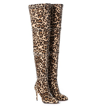 Giaro LUNA thigh high leopard boots with high heels and lots of studs