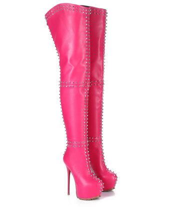 Giaro Giaro SOPHIA fuchsia studded thigh boots profile