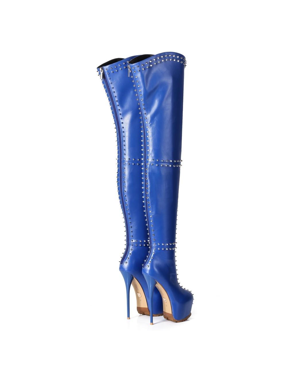 Giaro Giaro SOPHIA blue studded thigh boots profile