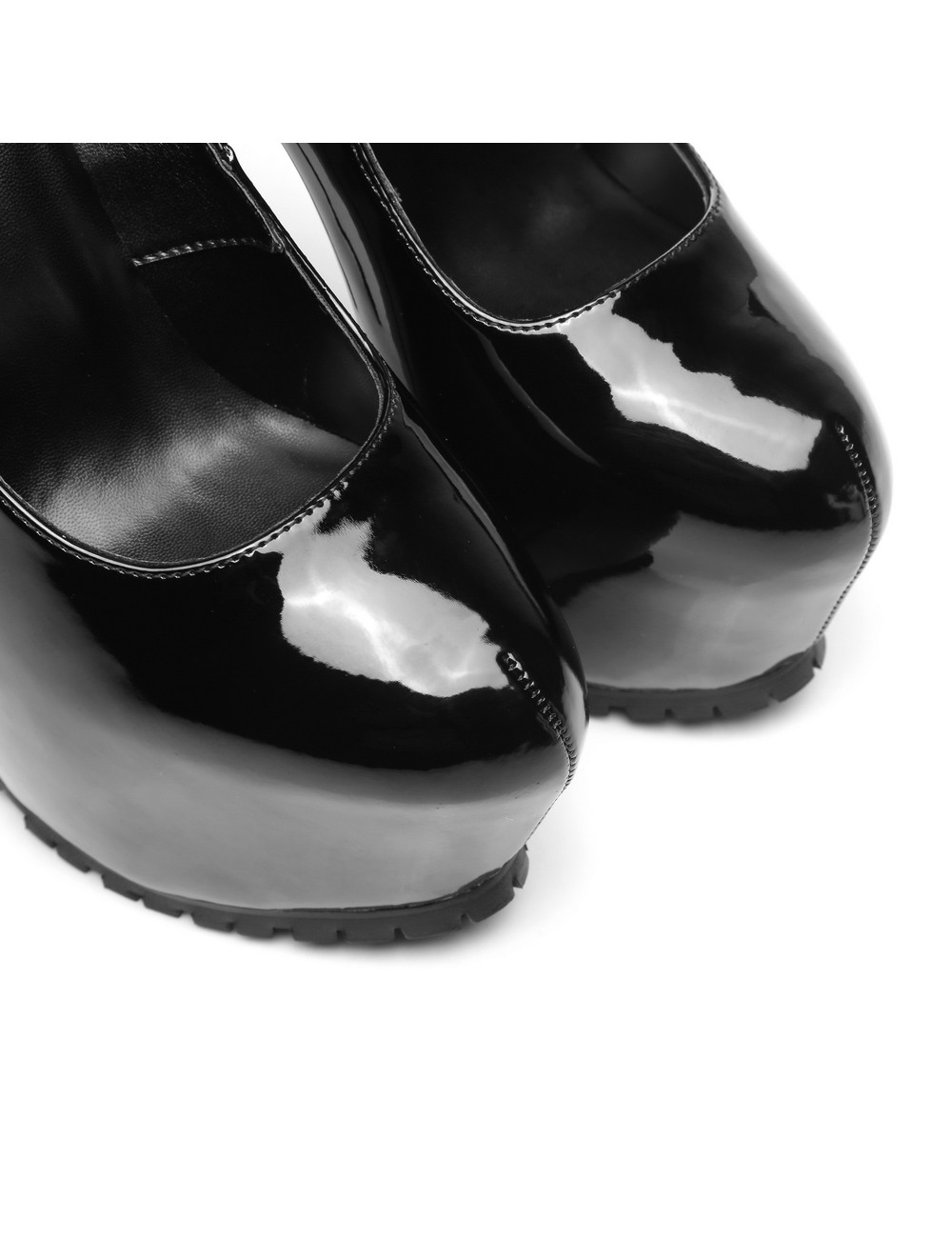 "Giaro Black shiny  Giaro ""Profile"" platform pumps"