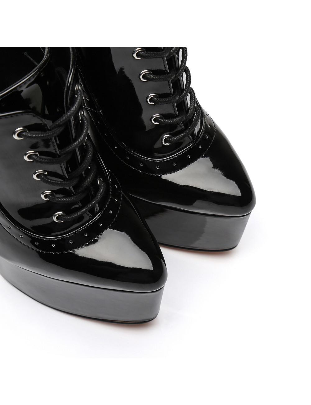 SLICK Black shiny Giaro ultra Fetish platform oxfords with gold heels