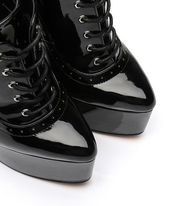Giaro Black shiny Giaro ultra Fetish platform oxfords with gold heels