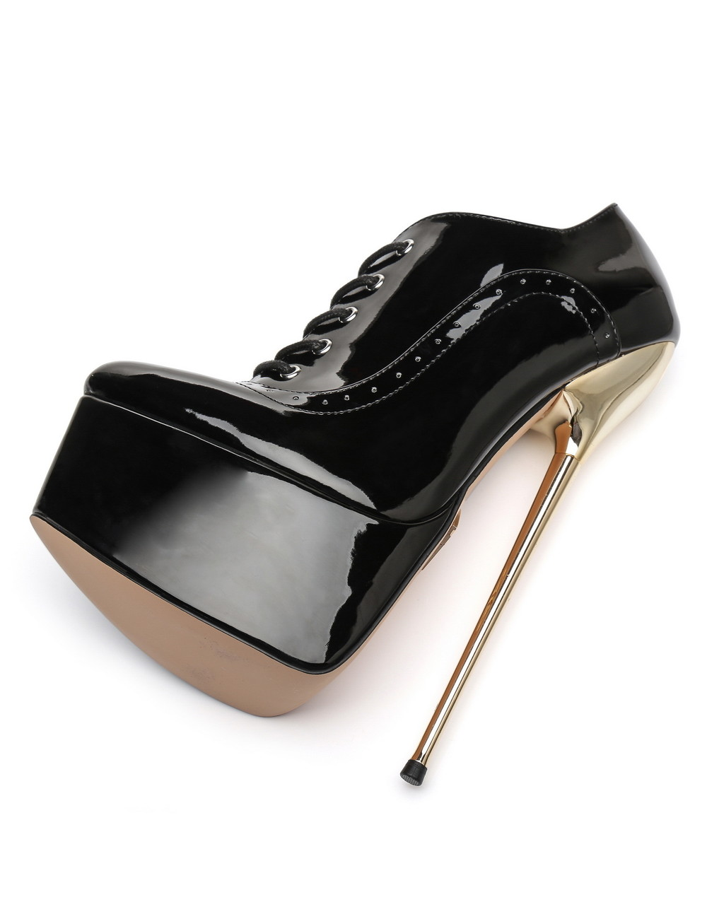 Giaro SLICK Black shiny Giaro ultra Fetish platform oxfords with gold heels