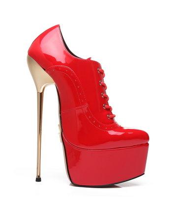 Giaro SLICK Red shiny Giaro ultra Fetish platform oxfords with gold heels