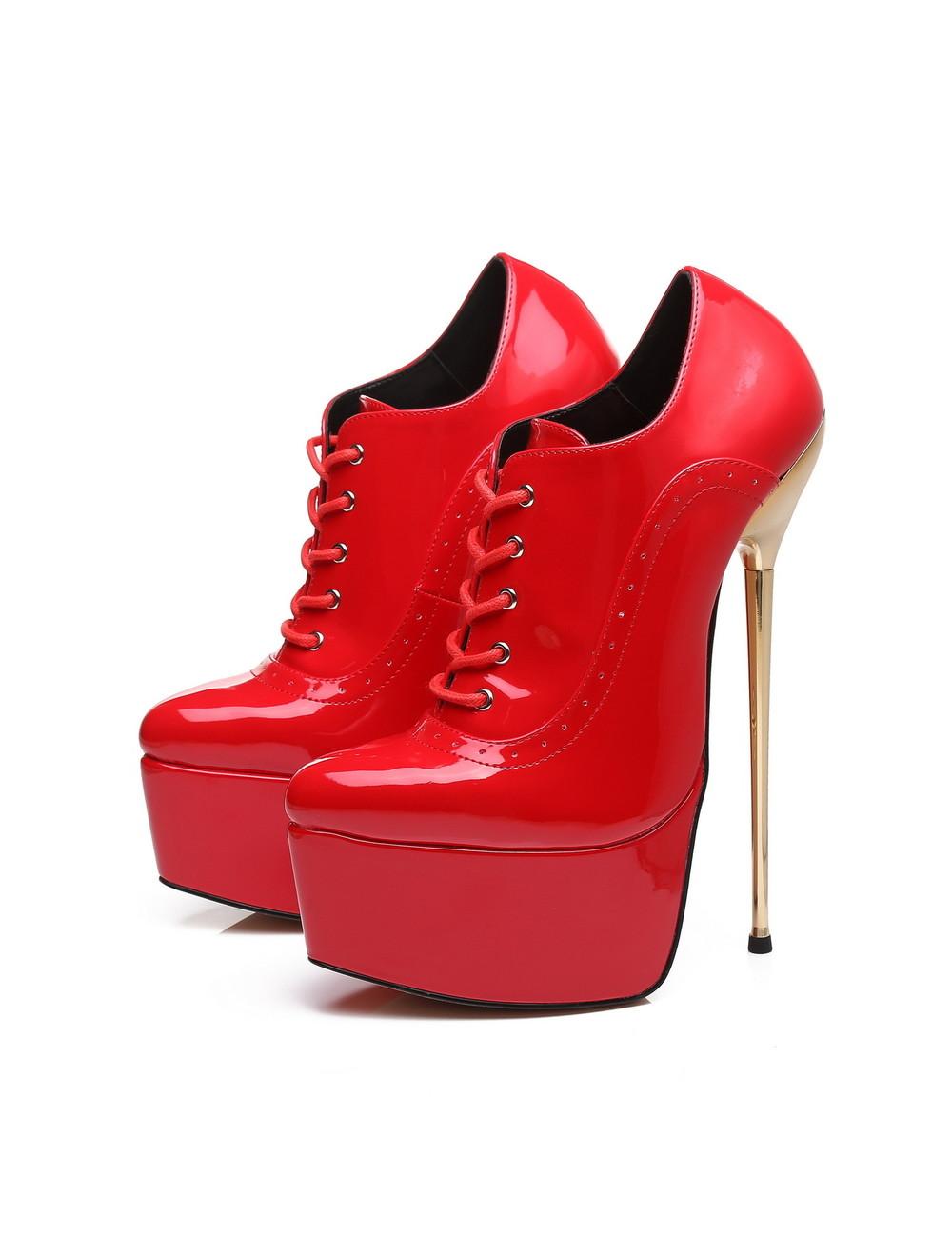 Giaro Red shiny Giaro ultra Fetish platform oxfords with gold heels