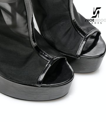 "Giaro Black Mesh DAKOTA Transparant Giaro ultra ""Galana"" knee boots"