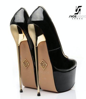 SLICK Black shiny Giaro ultra Fetish platform pumps with gold heels