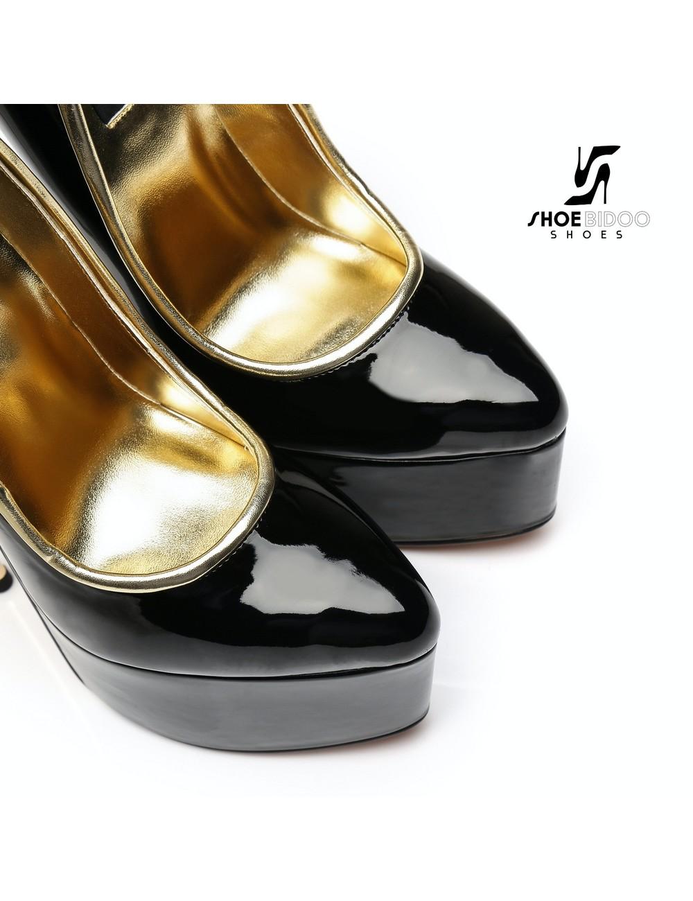 Giaro SLICK Zwarte lak platform pumps met ultra hoge goud metalen hakken