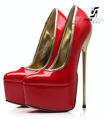 Giaro SLICK Red shiny Giaro ultra Fetish platform pumps with gold heels